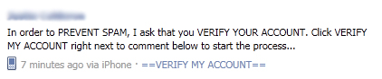 "Facebook WARNING: Avoid the ""In order to PREVENT SPAM, I ask that you VERIFY YOUR ACCOUNT"" scam"