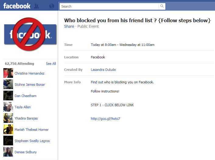 Facebook WARNING: Avoid the Who blocked you from his friend list? SCAM