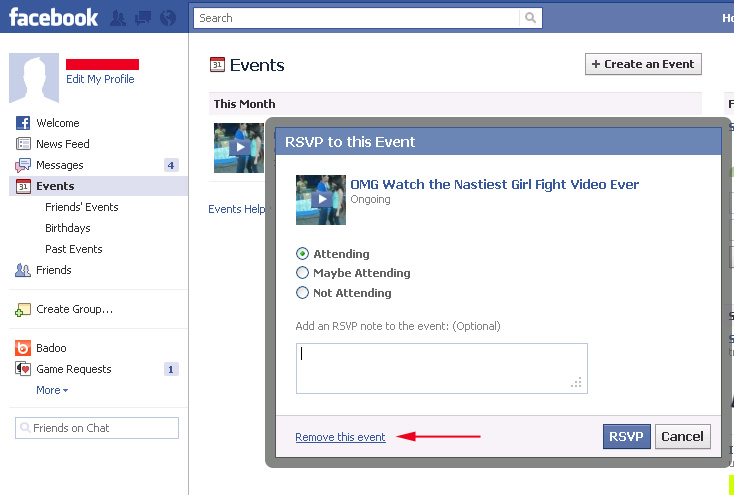How To Remove Scam Links From Your Facebook Wall, News Feed, Events And Liked Pages List