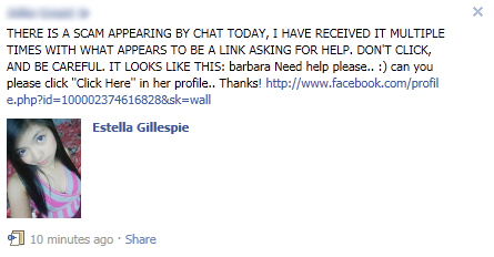 "Facebook WARNING: Avoid the ""Need help please.. :) can you please click ""Click Here"" in her profile.. Thanks!"" SCAM"