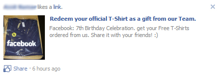 "Facebook WARNING: Avoid the ""Facebook 7th Birthday Free Sexy T-Shirt"" SCAM"