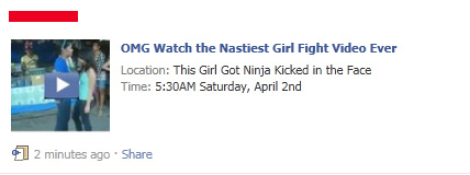 Facebook WARNING: Avoid the OMG Watch the Nastiest Girl Fight Video Ever SCAM