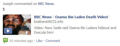 "Facebook WARNING: Avoid the ""BBC News - Osama Bin Laden Death Video!"" SCAM"