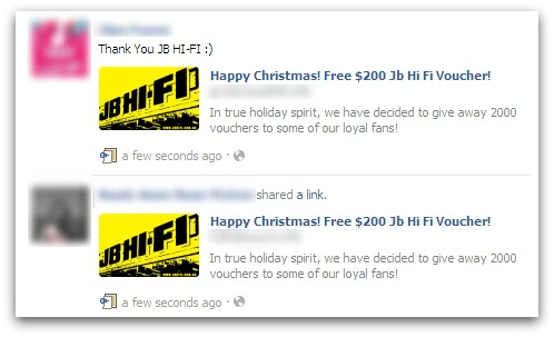 "Facebook WARNING: Avoid the ""Happy Christmas! Free $200 Jb Hi Fi Voucher!"" SCAM"