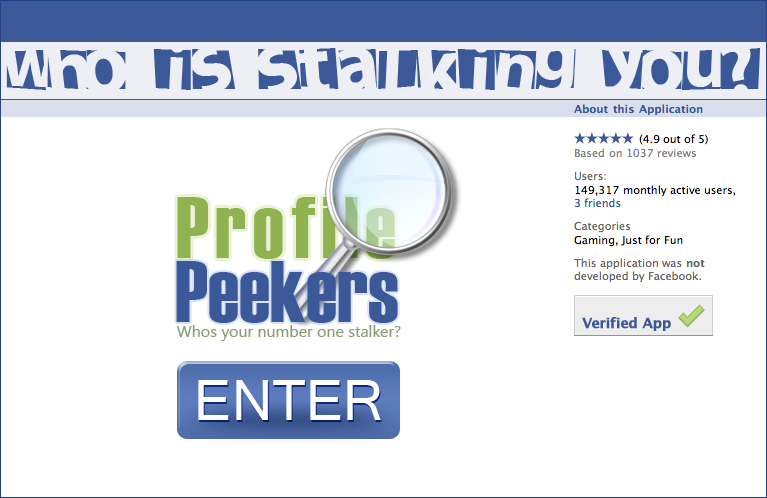 FAKE SCAM PROFILE PEEKERS FACEBOOK APP