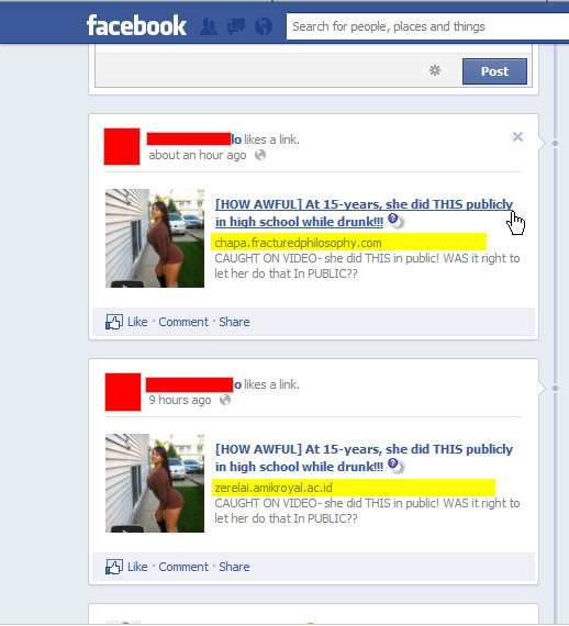 "Facebook WARNING: Avoid the ""[HOW AWFUL] At 15 years, she did THIS publicly in high school while drunk!!!"" SCAM"